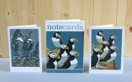 10 Blank Notecards / Notelets - 2 ass Puffins / Hooper  Swans by Art Angels